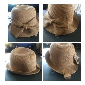 C.C straw hat with bow